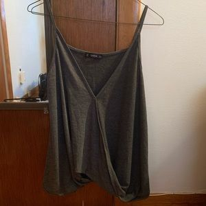 Gray Surplice Dressy V-Neck Tank Top - SheIn